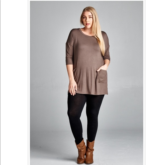 Emerald Fashion Tops - Plus Size Brown 3/4 Sleeve Back Button Tunic